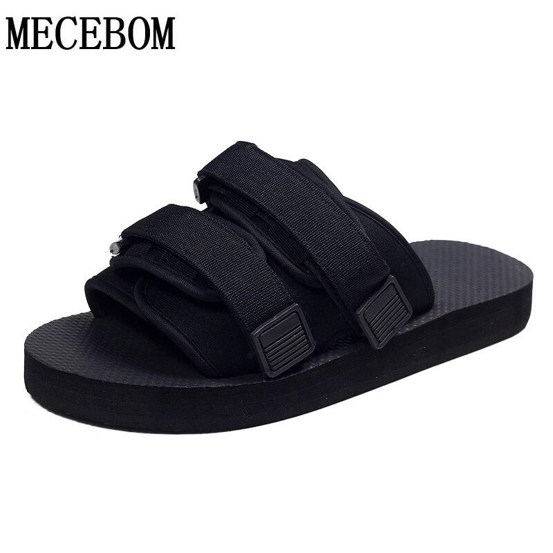 e2c7918481cd Men summer shoes 2017 new canvas black slippers hook loop design unisex  slip-on casual shoes