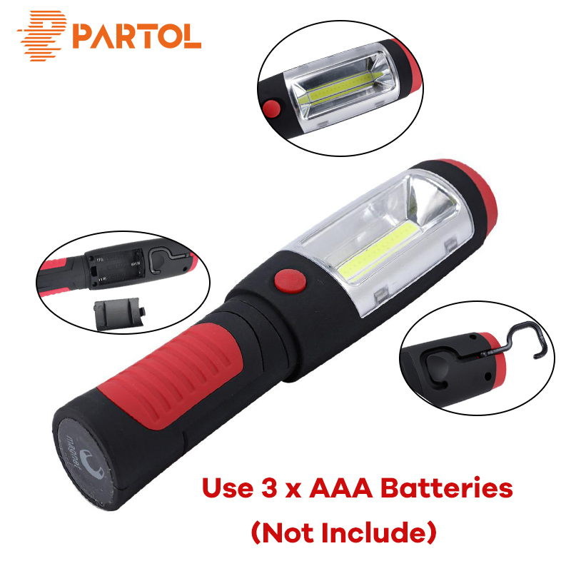 Partol Powerful Portable 2 in 1 COB LED Flashlight Magnetic Camping Work Inspection Light Hand Torch Lamp With Hook Waterproof 2 in 1 bright led flashlight telescopic magnetic pick up tool portable work light tactical flashlight bar light combination