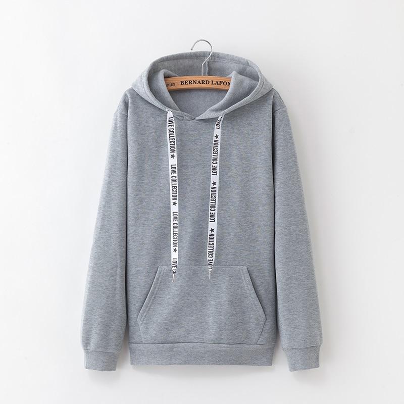 Hooded Tops Women's Sweatshirt Long-Sleeved Winter Velvet Thickening Coat 37