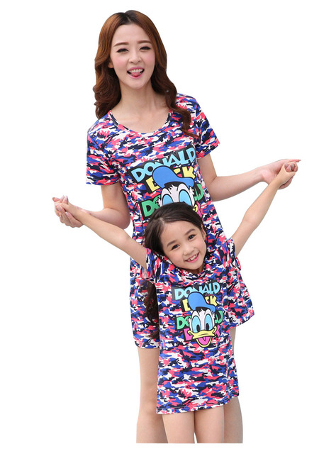 Retail fashion mother daughter matching dresses cotton character baby and mom dress family matching outfits for summer AF1623