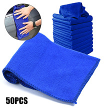 50 X BLUE SOFT MICROFIBRE CLEANING AUTO CAR DETAILING CLOTHS WASH TOWEL NEW