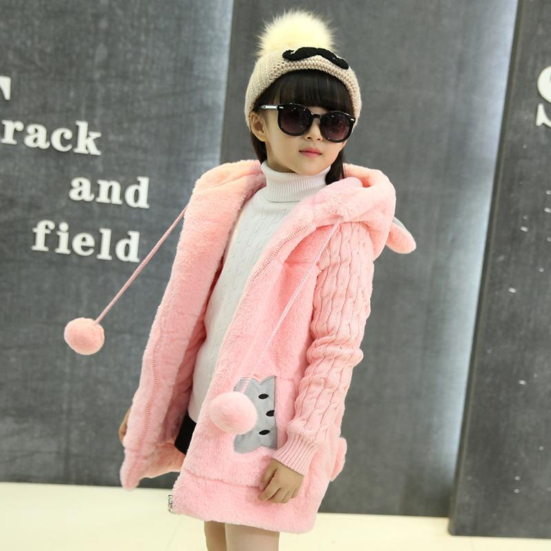 Cartoon Rabbit Winter Girls Parka Coats Thick Warm Hooded Children Outerwear 5-14 Years Teenage Kids Sweater Coat for Girls t100 children sweater winter wool girl child cartoon thick knitted girls cardigan warm sweater long sleeve toddler cardigan