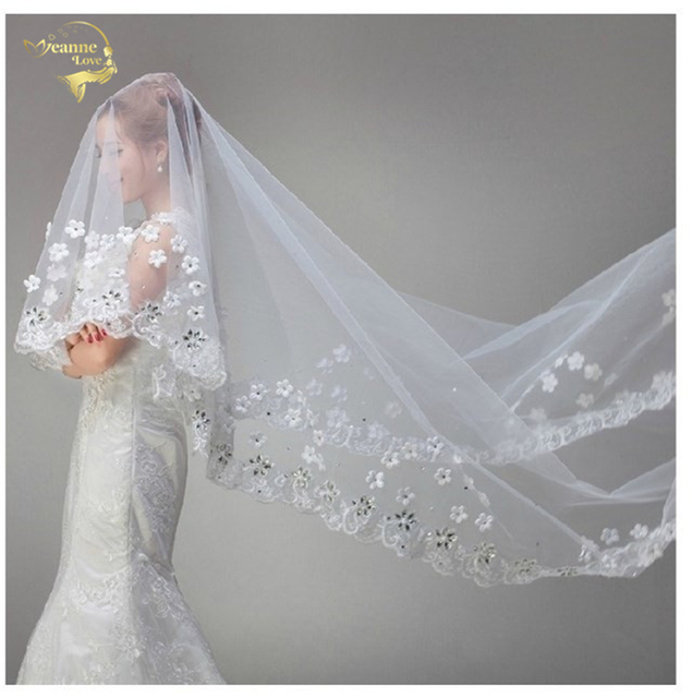 New White Vintage Tulle Bride Cathedral Long Bridal Lace Wedding Veils With Crystals 3 Meters Velos