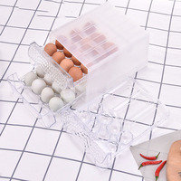 Transparent Plastic Egg Storage Box Drawer Type Egg Organizer For Kitchen Refrigerator Anti collision Egg Container