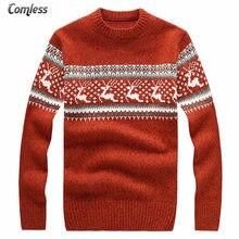 5faf5a4763ffa Мужской свитер с оленем, новинка 2017 года, зимний мужской Рождественский  свитер с оленем,
