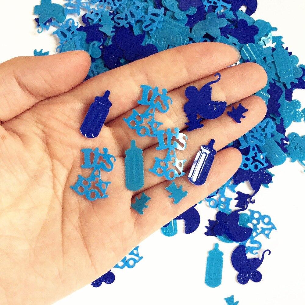 50g Newborn boy Baby Shower table decoration scatter blue baby milk bottle FOIL Confetti supplies