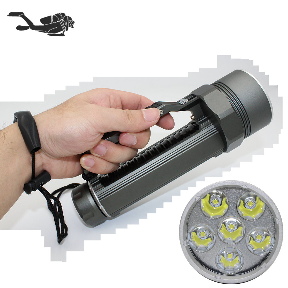 Diving torch 6 x CREE XM-L2 U2 stepless dimming 6000 Lumens diving flashlight underwater spearfishing light 26650 lamp 3800lm cree xm l2 u2 led flashlight torch super bright diving torch lamp light underwater 50m professional waterproof lights