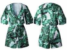 Summer Jumpsuit For Women Sexy Leaf V Lead Overalls casual Flare sleeve Bandage Playsuits Combishort body Femme Ete qy*
