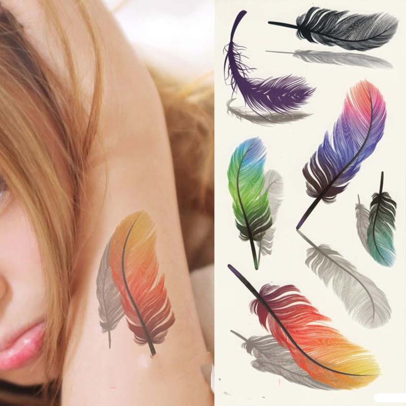 2PCS Inspire Colorful 3D Tattoo Sticker on the Body Art Stickers Glitter Temporary Tattoos Removal Fake Small Feathers Wings