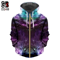 OGKB Colorful Galaxy Space 3d Zipper Hoodies Sweatshirt Men/women Harajuku Jacket Unisex Spring Autumn Pulover Outwear Plus Size