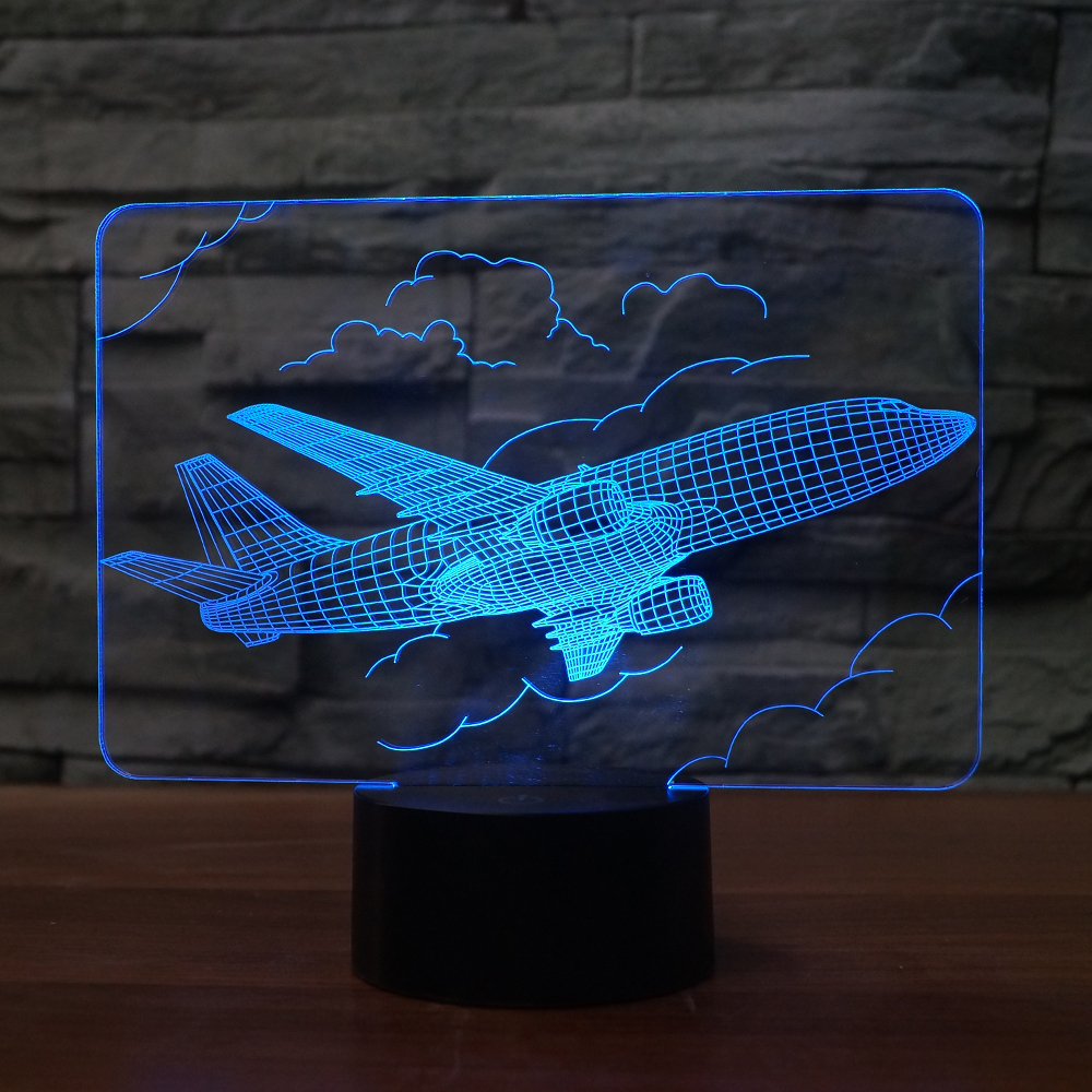 3D cloud airplane shape night light 7 color touch switch with USB cable as the home decoration holiday gift image