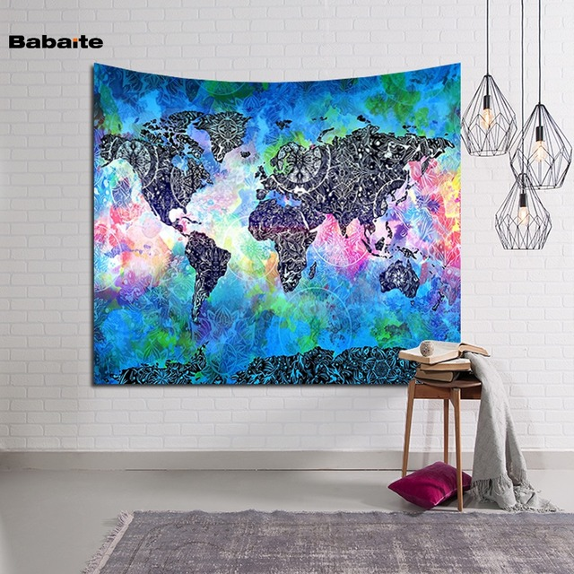 World Map Tapestry Wall Hanging aliexpress : buy babaite colorful world map wall hanging door