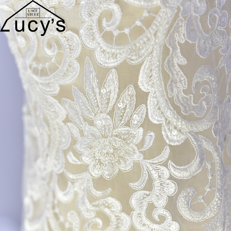 2017 Super luxurious heavy beaded lace fabric embroidery design shiny sequins lace ivory wedding lace material 1 yard!