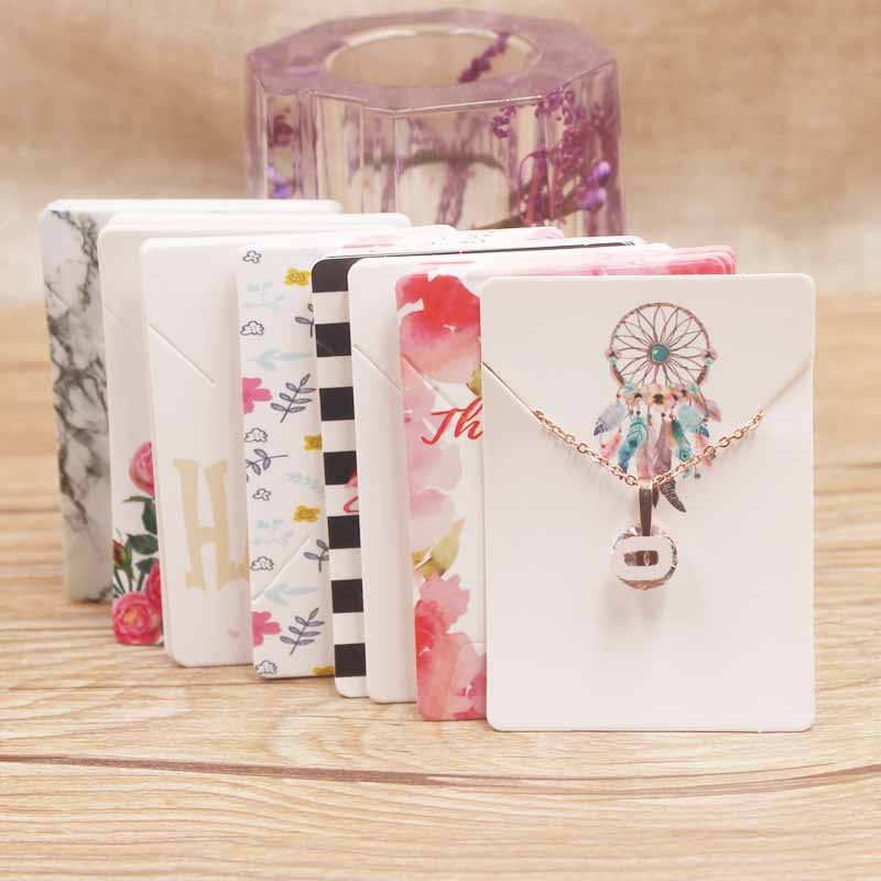 100Pc Various Design Jewelry Necklace Paper Package Card DIY Handmade Flower/marbling/sweet Love Charms Pendant Dispaly Tag Card
