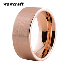 где купить Rose Gold Wedding Ring for Men Women 8mm Brushed Finish Tungsten Rings With Flat Band дешево