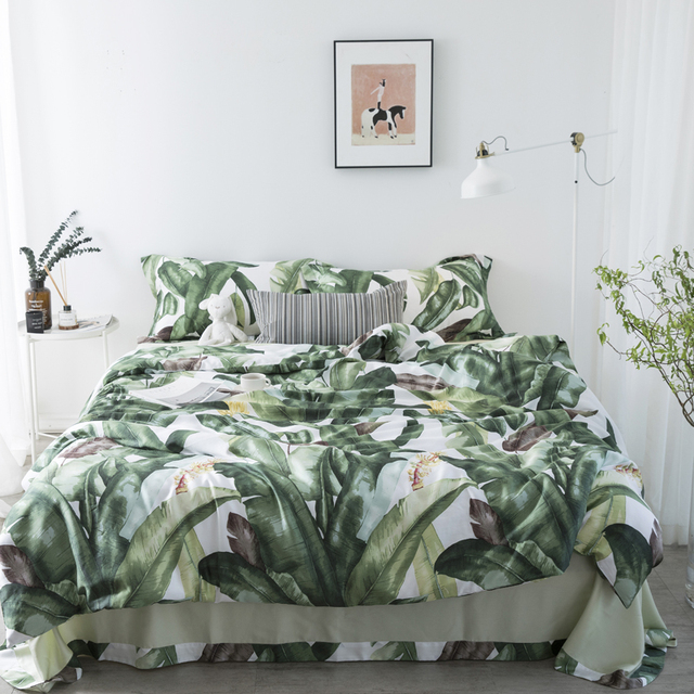 2018 Summer Bed Duvet Cover Set Luxury Tencel Comforter Bedding Sets pineapple Pattern Reversible Bedding Set King Size