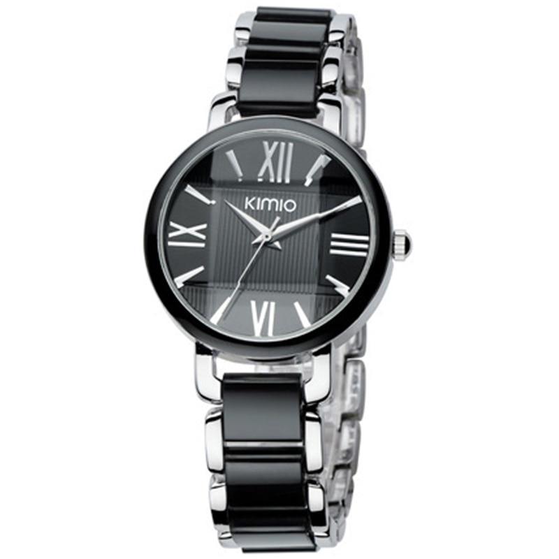 Kimio Brand Women Imitation Ceramic Watches Bracelet Quartz Watch Big Dial Wristwatches Ladies Stainless Steel Bracelet Watch