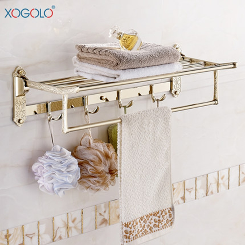 Xogolo Stainless Steel Towel Rack For Bathroom Movable Bath Towel Holder Wholesale And Retail Fashion Carving Holder 304 stainless steel bathroom towel rack bar hangers more