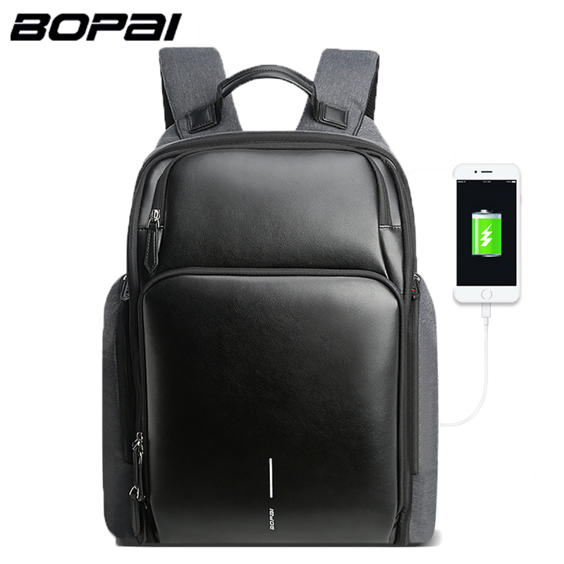 BOPAI Men Backpack USB Charging Bag 15.6inch Laptop Backpack 2018 New Anti theft High Capacity Waterproof Men Travel Backpack bopai brand backpack usb charging backpack laptop shoulders anti theft usb backpack 15 inch laptop backpack men waterproof