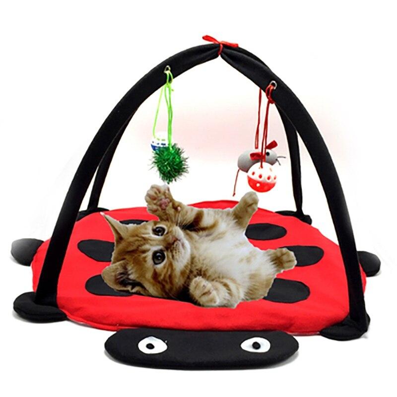 Juguetes Divertidos para mascotas gato portátil tienda de campaña juguetes actividad móvil mascotas jugar cama juguetes gato juego estera manta casa plegable gatito tiendas