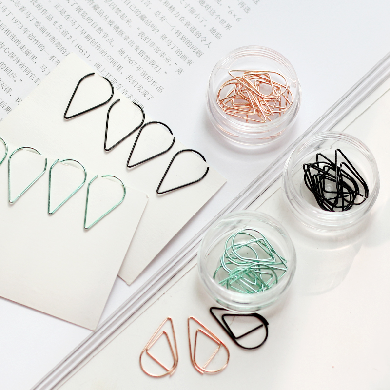 10pcs/box Metal Water Drops Shape Memo Paper ClipsRose Gold Green Gold Bookmark Office Shool Stationery Marking Clips