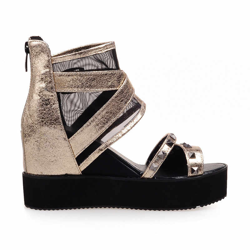 Odetina 2019 Yeni Yaz Kalın Taban Sandalet Ayakkabı Perçin Kadın Platformu Kama Peep Toe Sandalet Botlar Toka Kayışı Büyük Boy 33-43