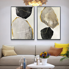 Modern Yellow Stone Canvas Painting Poster and Print for Living Room Bedroom Decoration Pictures Decorations Wall Art Home Black(China)