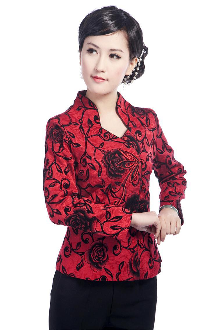 Free Shipping Burgundy Fashion Chinese Women's Clothing