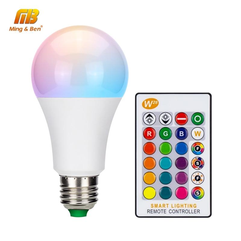 Bombilla LED RGB 5W 10W 15W E27 AC85-265V lámpara LED 16 colores cambiables RGB bombilla LED con función de memoria + Control remoto IR