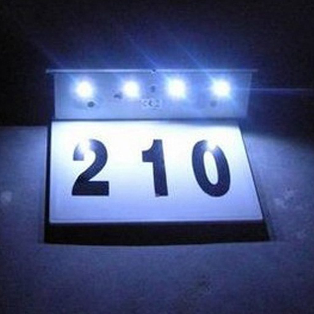 LED Solar Stainless Steel Powered House Number Lamp Outdoor Door Outdoor Wall Sign Light Sensor Automatic Switch Alphanumeric