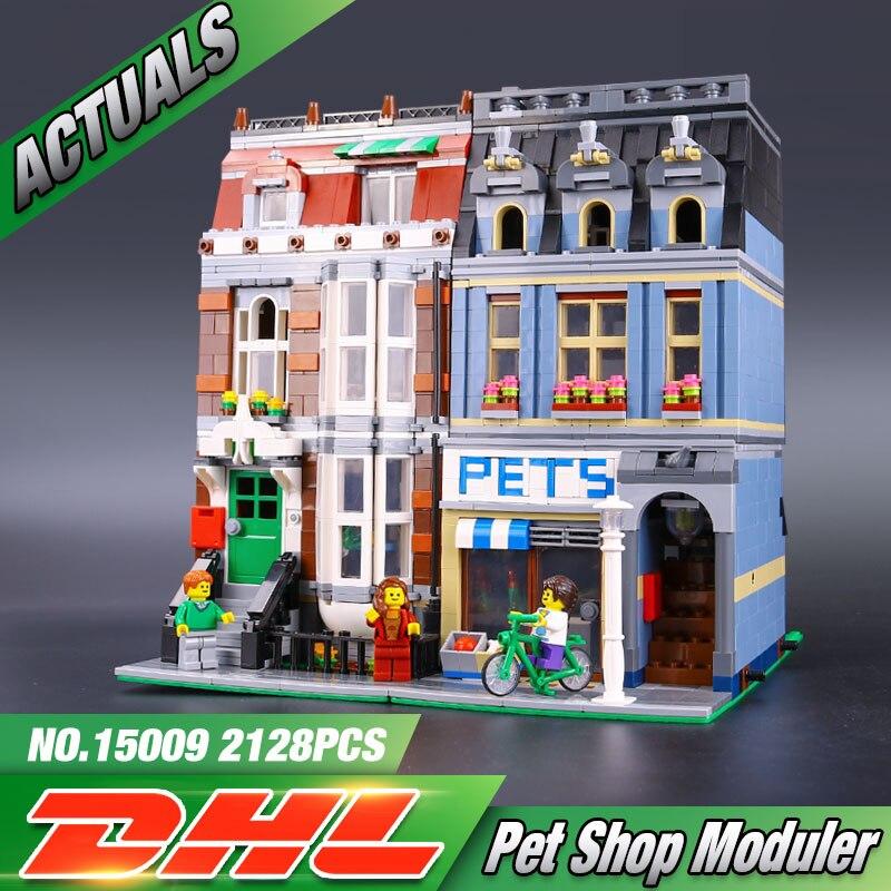 ФОТО LEPIN 15009  Pet Shop Supermarket Model City Street Building Blocks Compatible  10218 Toys For Children