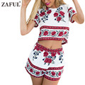 ZAFUL Women Two Piece jumpsuit Summer Floral Print Crop Top Hot Pants Woman Twinset Romper Shorts Playsuit Overalls Macacao