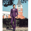 2016 New Stock Slim Fit Purple Single Breasted Wedding Suit Tuxedos Formal Party Prom Suits Business Suit