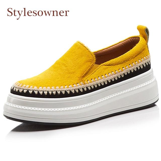 Stylesowner CRIN amarillo mollete inferior grueso zapatos 2018 otoño nuevo dedo del pie redondo resbalón en las mujeres perezosas mocasines mujeres med talones