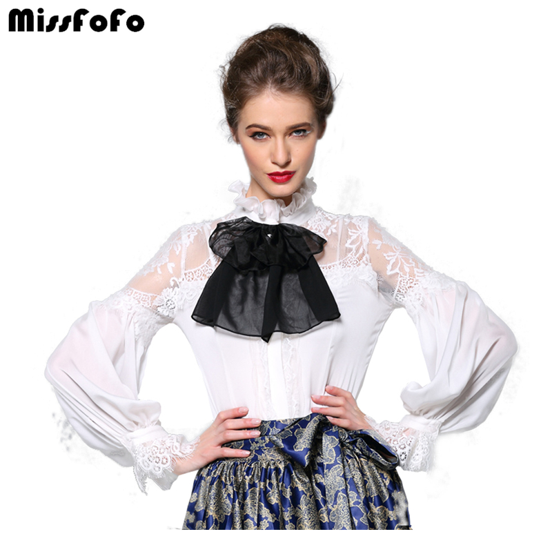 2015 autumn and winter fashion elegant one piece shirt bow stand collar slim lace cutout shirt Chemisier