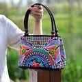 Nação chinesa Vento Saco de Ombro Das Mulheres Padrão floral Bordado Beading madeira Dupla Camada sacola Saco de Lona Bolsa De Viagem