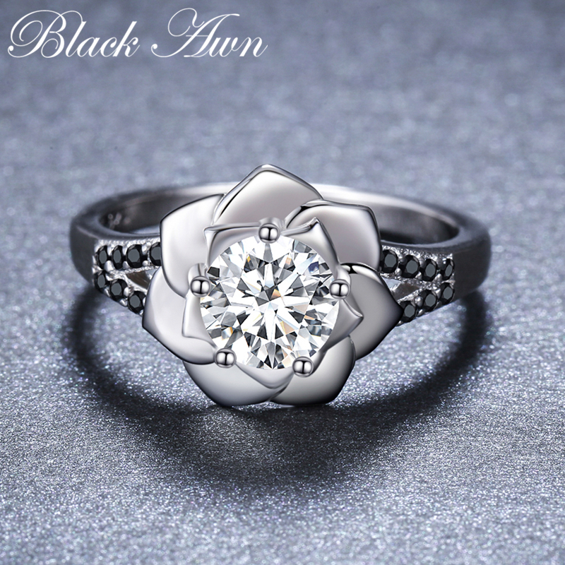 Flower 2019 New Romantic 925 Sterling Silver Fine Jewelry Engagement Black Spinel Engagement  Ring For Women Anillos Mujer G073