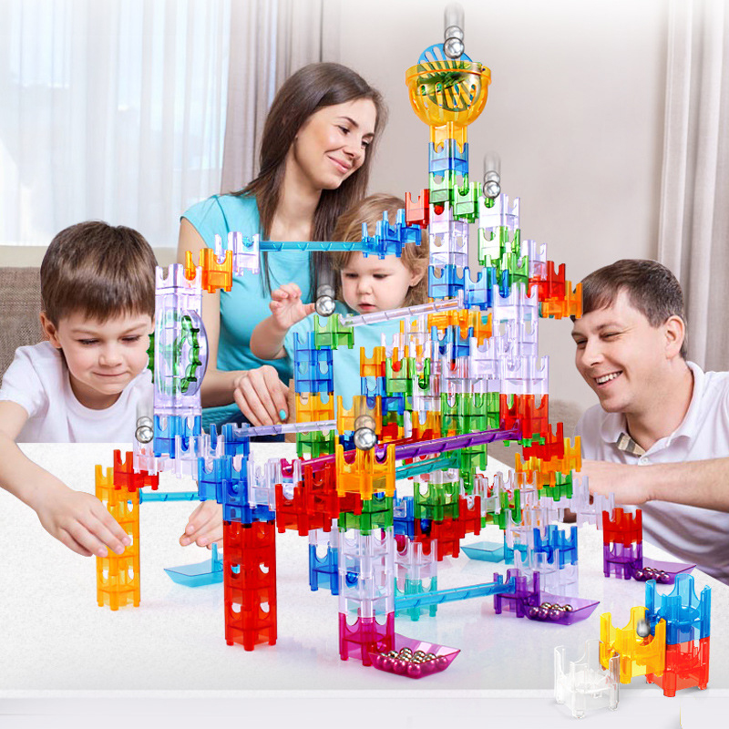 DIY Construction A Unique System Of Colorful Cubes Marble Run Maze Balls Track Building Blocks bricks Educational toys for Kids