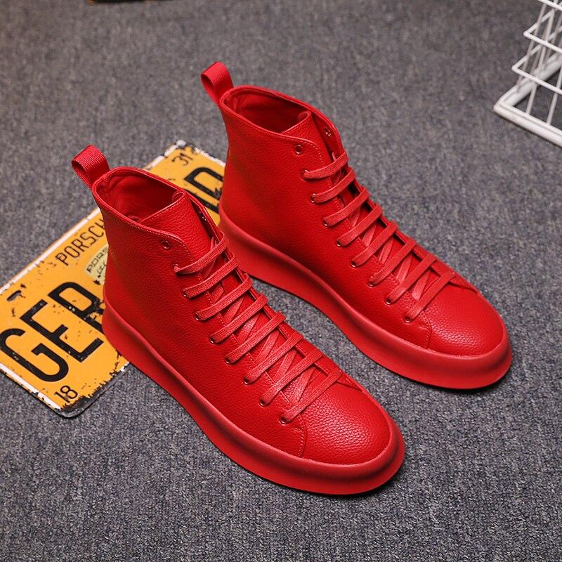 Ayakk.'ten Basic Çizmeler'de 2018 Bahar Yeni Stil Moda yarım çizmeler Erkekler Kırmızı beyaz ayakkabı El Yapımı Hakiki Deri Lüks Kişiselleştirilmiş Orijinal Tasarım Botları'da  Grup 2