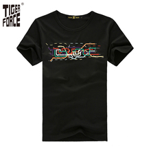 TIGER FORCE 2017 New Design Men Fashion T-shirt 100%Cotton O-Neck Casual T-shirt European Size Black M-3XL Free Shipping TJ-2045(China)