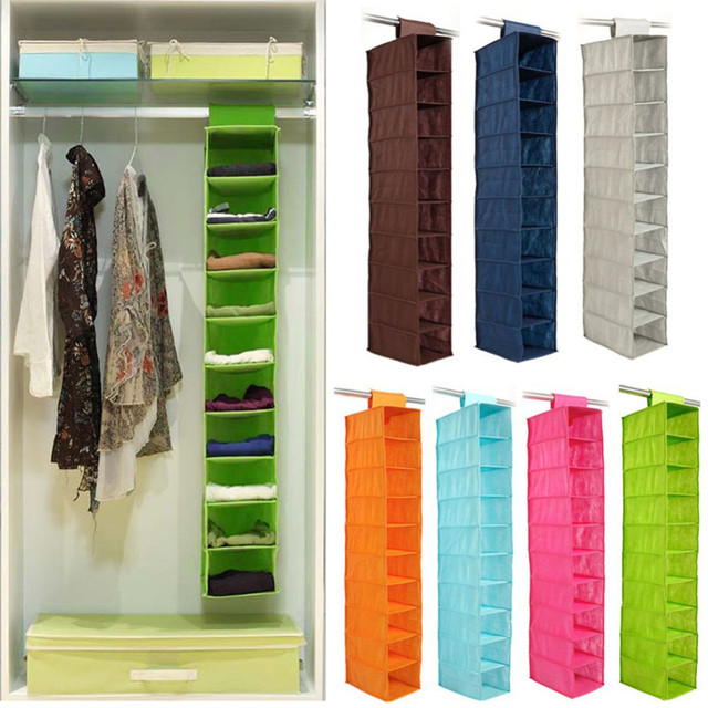 Gentil 10 Layer Pocket Non Woven Small Clothes Bureau Hanging Storage Organizer  Closet Home Foldable Storage