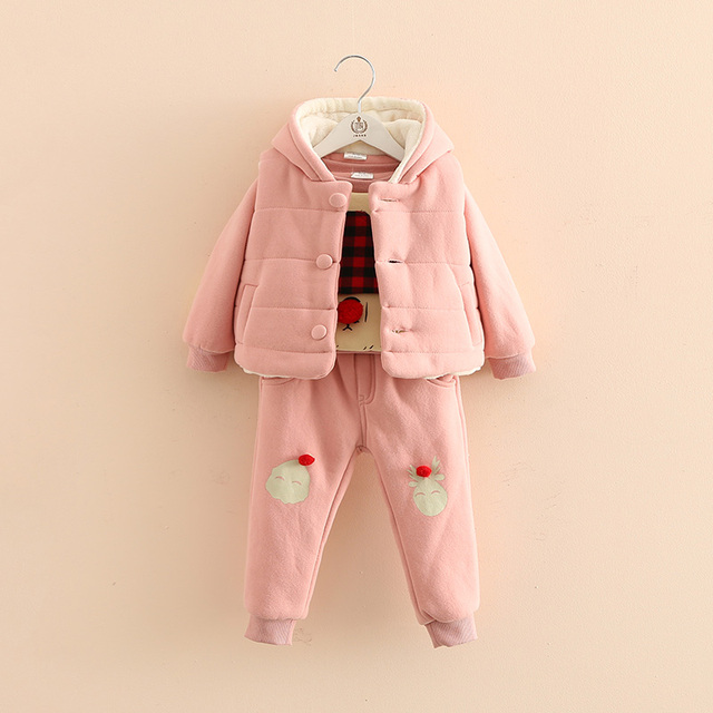Baby girl clothing set winter child plus velvet thickening piece set bebe clothing sets vest tshirt +pants 3 pieces suit set