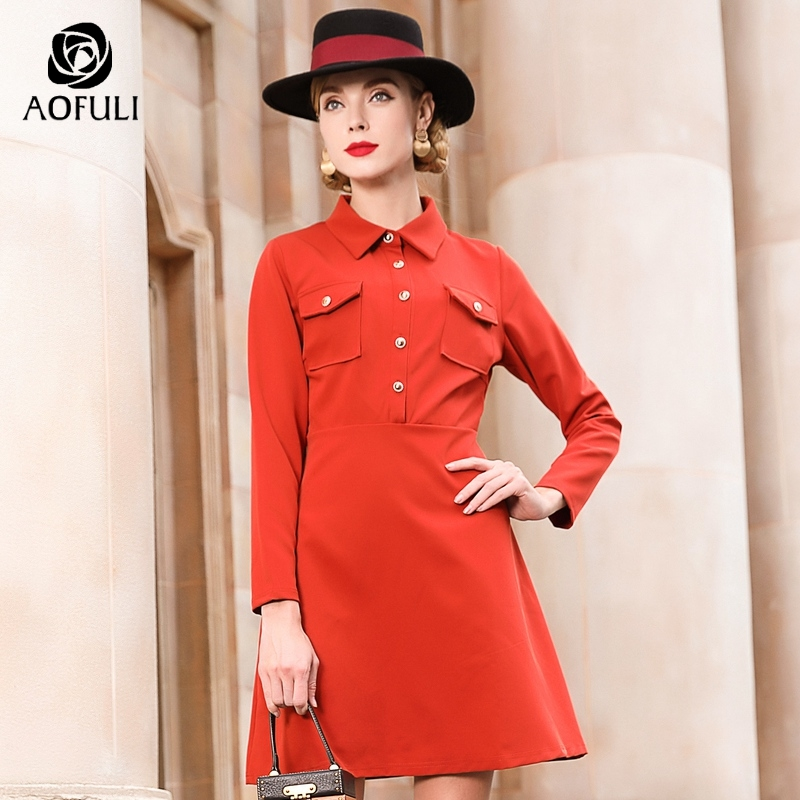 Women Long Sleeve Shirt Dresses Spring Plus Size Single breasted Pocket Dress Casual Brand Clothes M