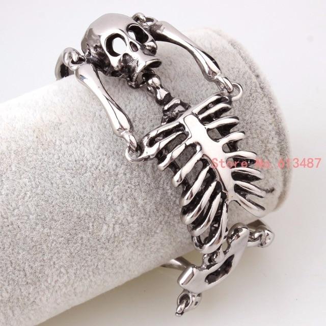 European Halloween Bracelet Punk Skull Skeleton Bracelet For Men Silver Stainless Steel Heavy Biker Bangle Jewelry