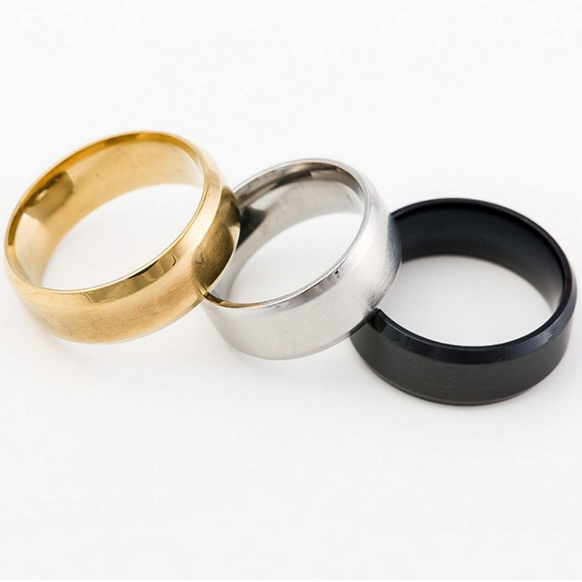1pc/lot Gold Silver Black Rings Wedding Engagement Charm Rings Size 8 -13 For Me