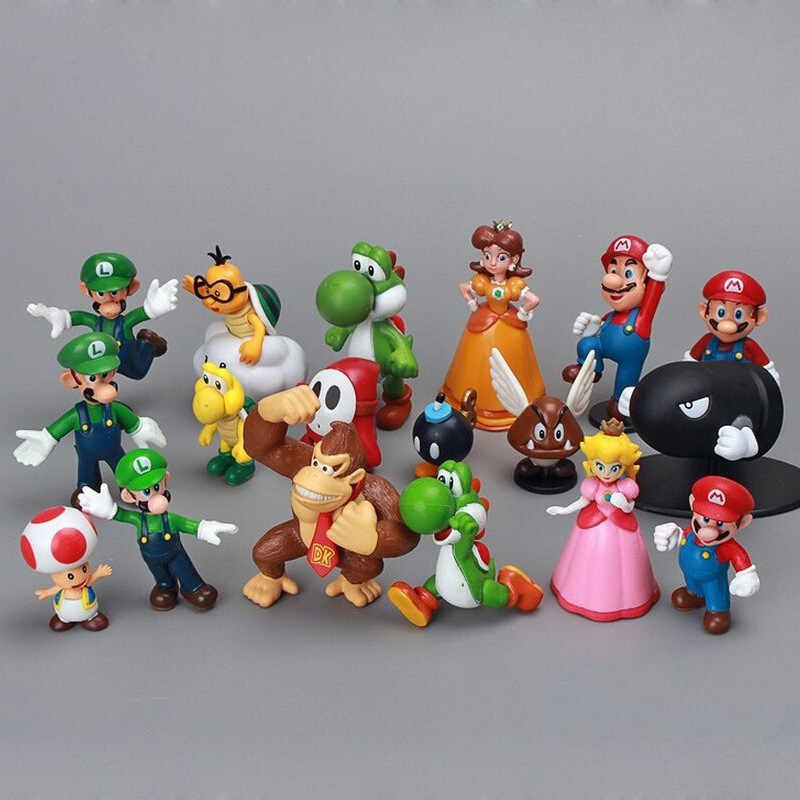 "18 Stks/set Super Mario Bros 1 ""-2.5"" Yoshi Dinosaurus Figuur Speelgoed Super Mario Yoshi Action Figure Pvc kid Toy Verjaardag Christmas Gift"