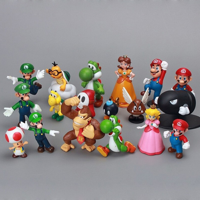 18pcs/set Super Mario Bros 1-2.5 Yoshi Dinosaur Figure Toy Action PVC Kid Birthday Christmas Gift