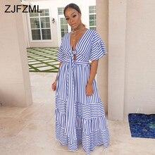 Blue White Striped Summer Boho Dress Women Deep V Neck Short Sleeve Fit And Falre Dress Casual High Waist Hollow Out Maxi Dress