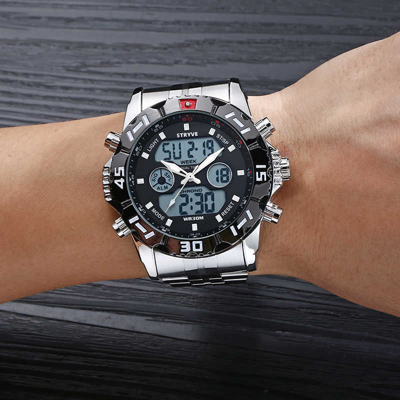STRYVE 2019 שבוע תאריך LED אור אחורי שעון עמיד למים נירוסטה רצועת צבאי כסף שעון דיגיטלי Quztar למעלה מותג