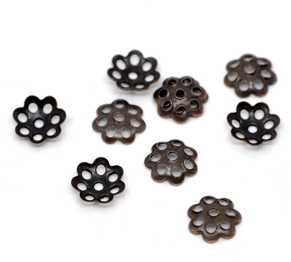 Alloy Beads Caps Flower Antique Bronze (Fits 8mm-14mm Beads) Flower Hollow Pattern 6mm( 2/8